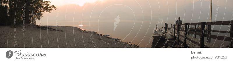 Panorama Lake MacDonald See Rauch Steg Abenddämmerung Glacier Nationalpark