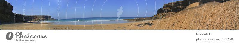 playa de esquinzo Kanaren Wellen Fuerteventura Strand Meer Europa mare panaroma canary islands water Bucht