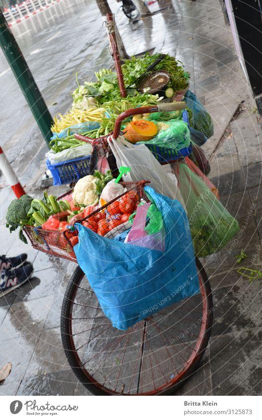Fahrrad-Verkauf Lebensmittel Gemüse Ernährung Vegetarische Ernährung Asiatische Küche Ferien & Urlaub & Reisen Handel Fahrradfahren Einkaufswagen wählen