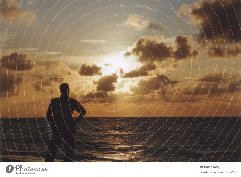cuban sunset Kuba Licht Meer Wolken Ferien & Urlaub & Reisen Sonne Mensch Schatten Himmel