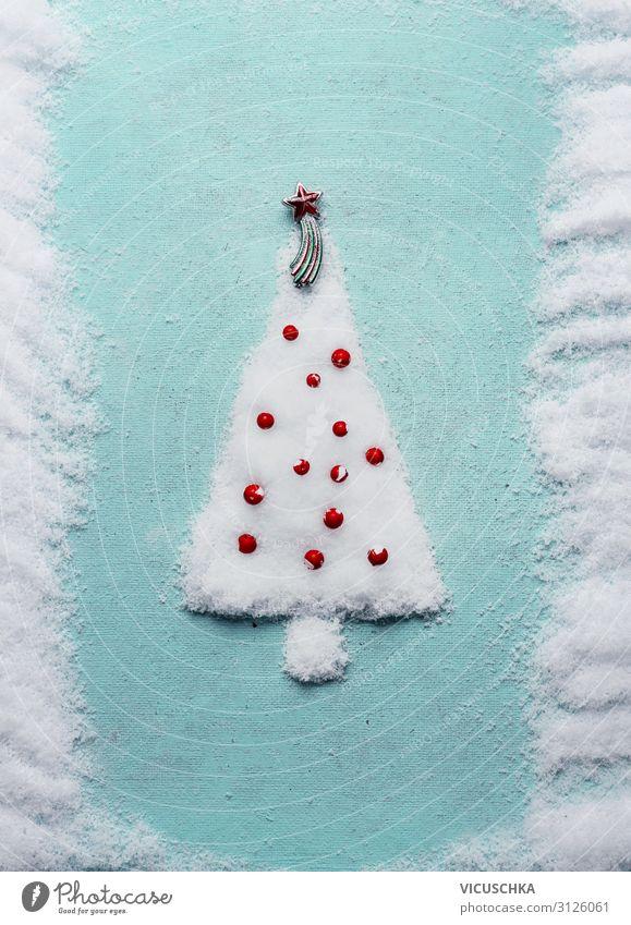 Weihnachtsbaum aus Schnee auf blauem Hintergrund Stil Design Winter Feste & Feiern Weihnachten & Advent Dekoration & Verzierung Tradition Hintergrundbild fertig