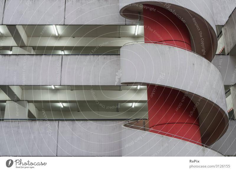 urbane Architektur Parkhaus parkplatz verkehr stadt city auto car fahrzeug garage tiefgarage Gebäude beton concrete raum spiegel mirror traffic Rückspiegel