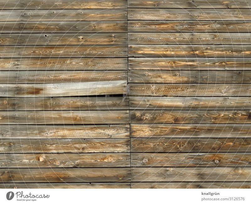 Geheimfach Mauer Wand Fassade Holz Kommunizieren alt kaputt braun geheimnisvoll Preisschild Verfall Holzbrett Holzwand Farbfoto Außenaufnahme Menschenleer