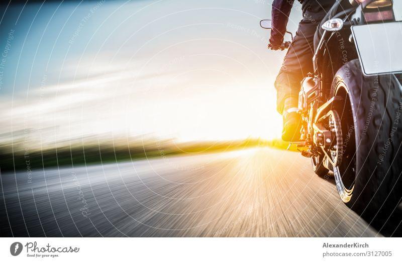 motorbike on the road riding. having fun riding the empty road Lifestyle Freude Ferien & Urlaub & Reisen Sport Motor Mensch Motorrad Mode Kraft motorcyclist
