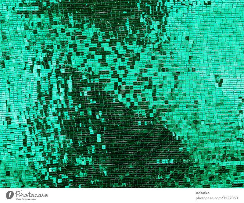 Stofffragment bestickt mit grünen Quadratpailletten Reichtum Design Dekoration & Verzierung Mode Metall glänzend trendy modern rot Farbe Stickereien Hintergrund