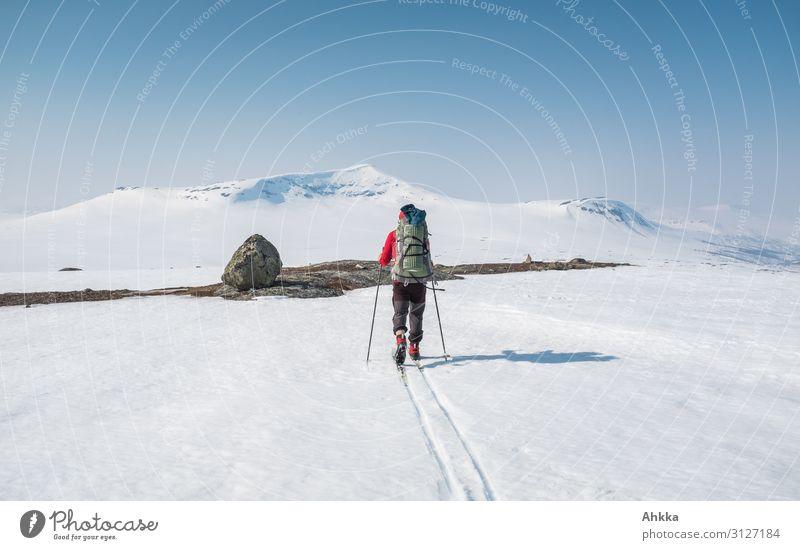 Skifahrer auf Abenteuerfahrt im Norden Mensch Natur Winter Ferne Berge u. Gebirge Traurigkeit Wege & Pfade Schnee Zufriedenheit Eis träumen Beginn Zukunft