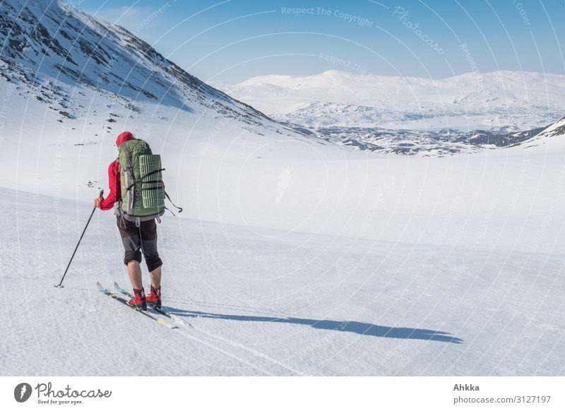 Fernweh, Skifahrer mit perfekten Bedingungen Sinnesorgane ruhig Ferne Winterurlaub Wintersport Skifahren 1 Mensch Natur Schönes Wetter Schnee Berge u. Gebirge