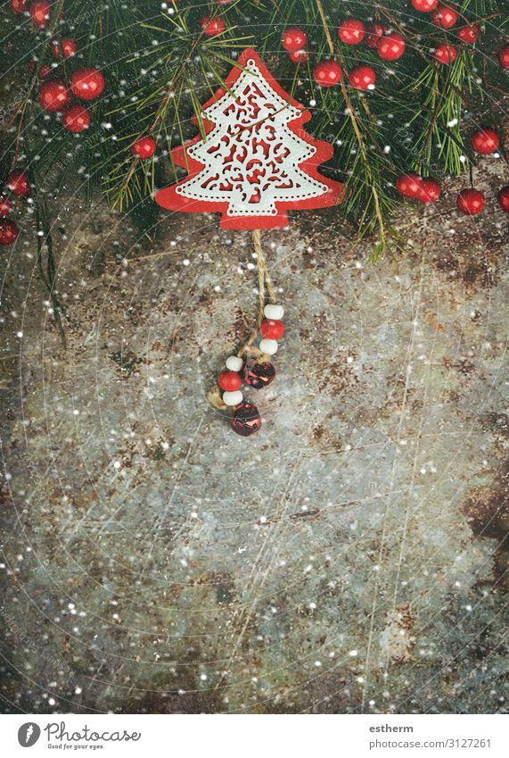 Hintergrund des Weihnachtskonzeptes Lifestyle Winter Schnee Dekoration & Verzierung Tisch Feste & Feiern Weihnachten & Advent Silvester u. Neujahr Ornament rot