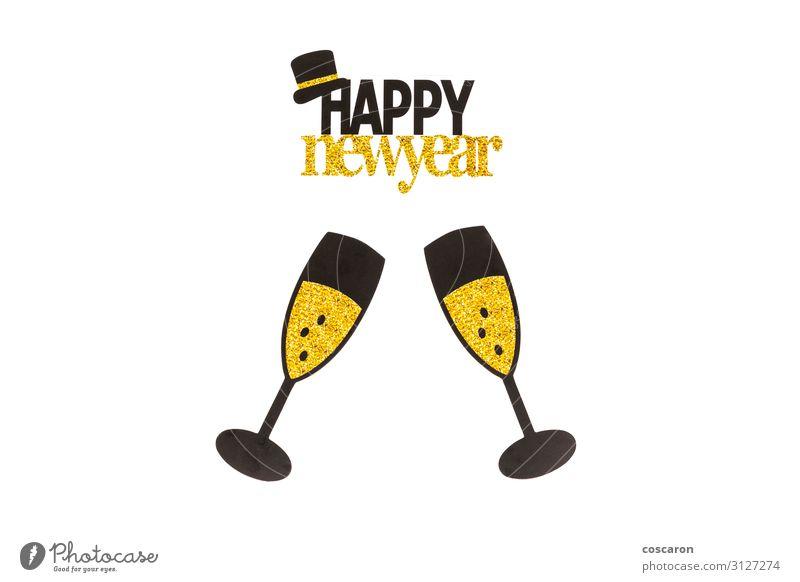 Party-Elemente mit weißem Hintergrund. Frohes Neujahrskonzept. Getränk Alkohol Champagner Reichtum elegant Design Freude Glück Nachtleben Veranstaltung Bar