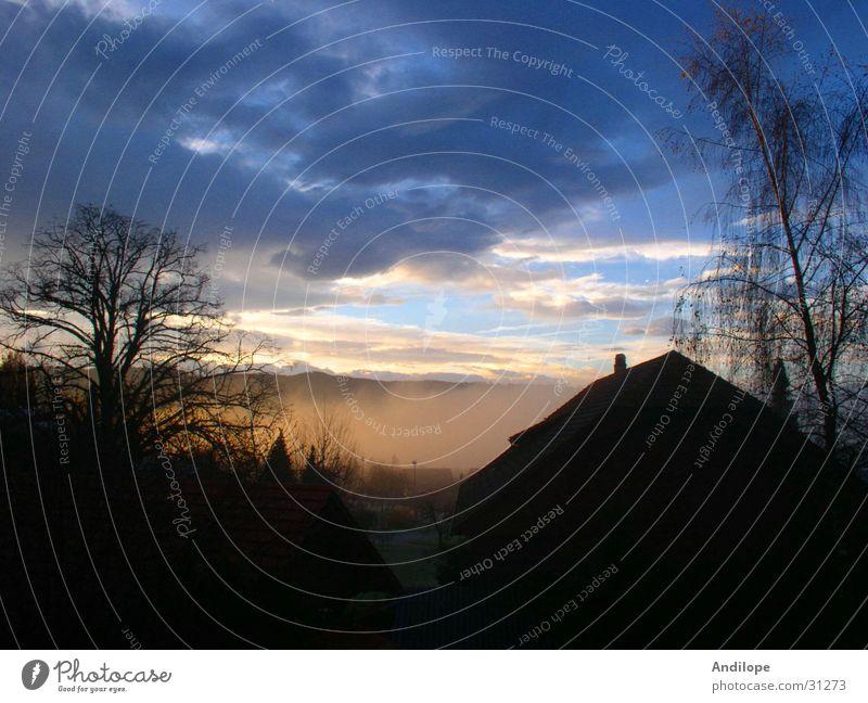Morgenstimmung Dämmerung Nebel Wolken Stimmung Himmel Kontrast