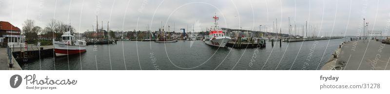 Laboe Hafen Panorama (Aussicht) Weitwinkel Wasserfahrzeug Fischerboot Anlegestelle Europa Ostsee SAR Seenotretter groß Panorama (Bildformat)