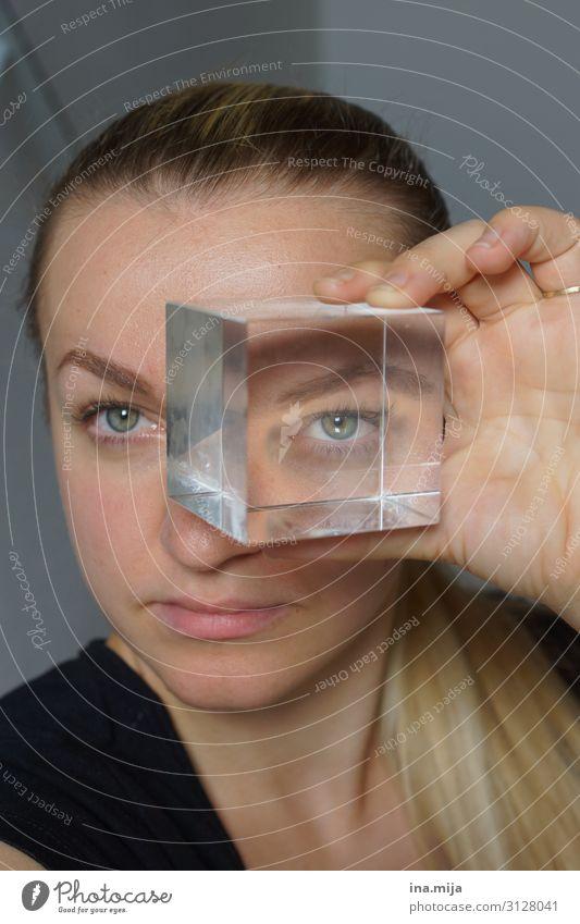 im Fokus Bildung lernen Labor Optiker feminin Junge Frau Jugendliche Erwachsene Leben Gesicht Auge 1 Mensch 18-30 Jahre 30-45 Jahre beobachten entdecken