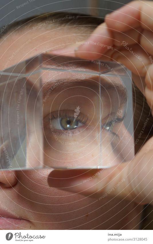 Sehe dich! Bildung Wissenschaften lernen Optiker Augenheilkunde Mensch feminin Junge Frau Jugendliche Erwachsene Leben 1 18-30 Jahre 30-45 Jahre beobachten