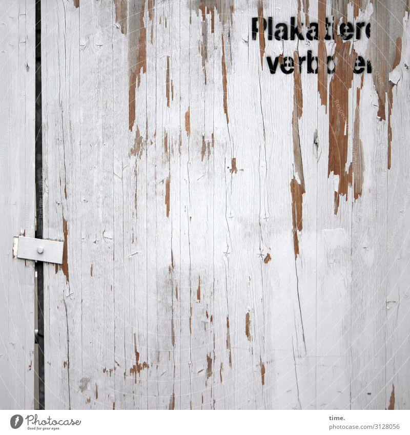 ein Versuch ist es noch wert | Geschriebenes Arbeitsplatz Baustelle Mauer Wand Zaun Bauzaun Verbindungstechnik Holzplatte Schriftzeichen Schilder & Markierungen