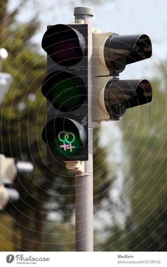 Ampel mit feministischen Symbol Homosexualität Verkehr Verkehrszeichen Verkehrsschild Zeichen rot Akzeptanz Identität modern Piktogramm Symbole & Metaphern