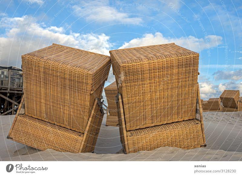 kuschelnde Strandkörbe am Strand bei schönem Wetter Strandkorb Ferien & Urlaub & Reisen Tourismus Sommer Sommerurlaub Landschaft Frühling Schönes Wetter Küste