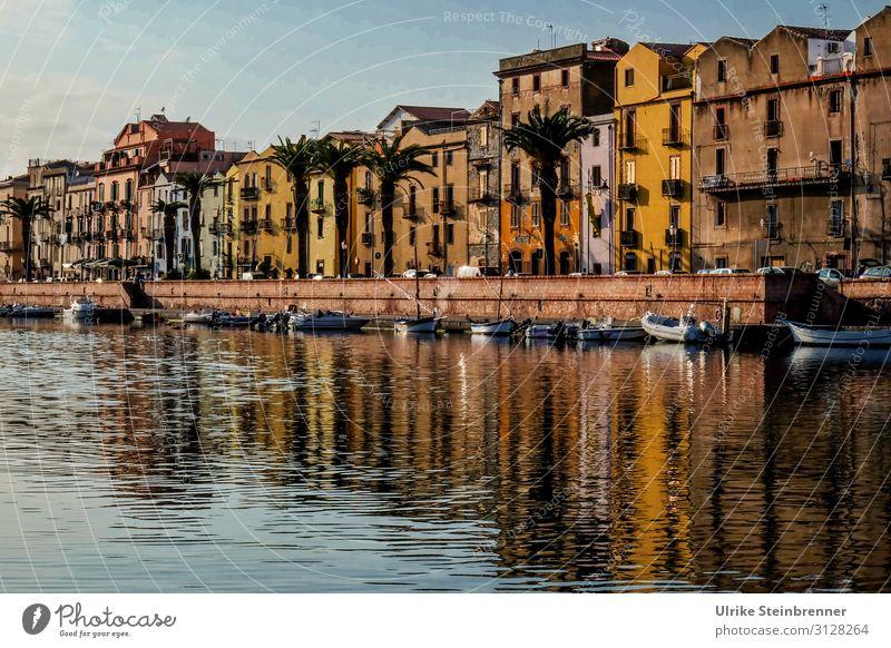 Abend in Bosa Ferien & Urlaub & Reisen Tourismus Ausflug Sightseeing Städtereise Flussufer Insel Sardinien Italien Europa Fischerdorf Kleinstadt Stadt