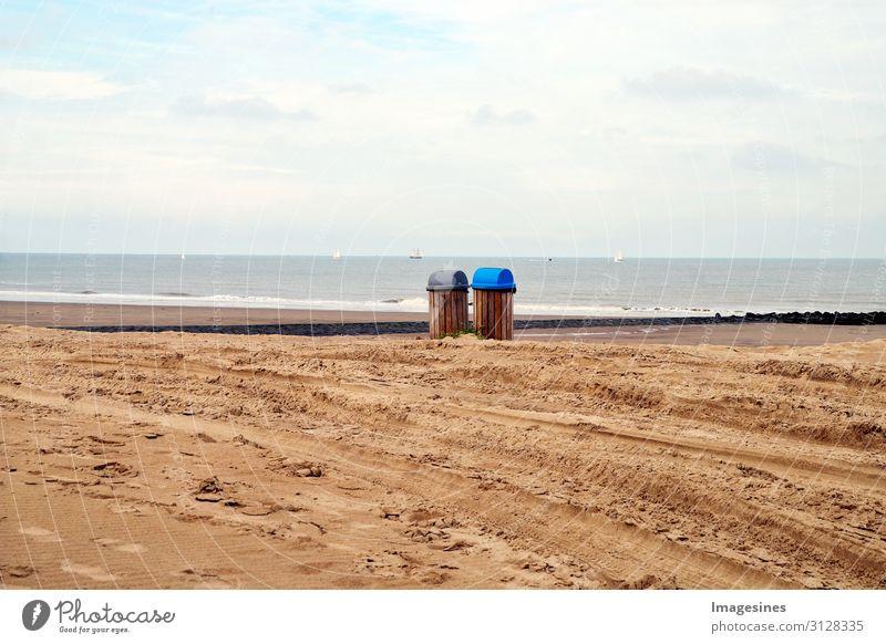 Mülltonnen Tourismus Strand Meer Wellen Umwelt Natur Landschaft Sand Himmel Wolken Horizont Herbst Küste Müllbehälter Umweltverschmutzung Umweltschutz Stadt