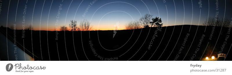 Horizontleuchten Weitwinkel Panorama (Aussicht) Nacht Sonnenuntergang Baum Schatten groß Panorama (Bildformat)