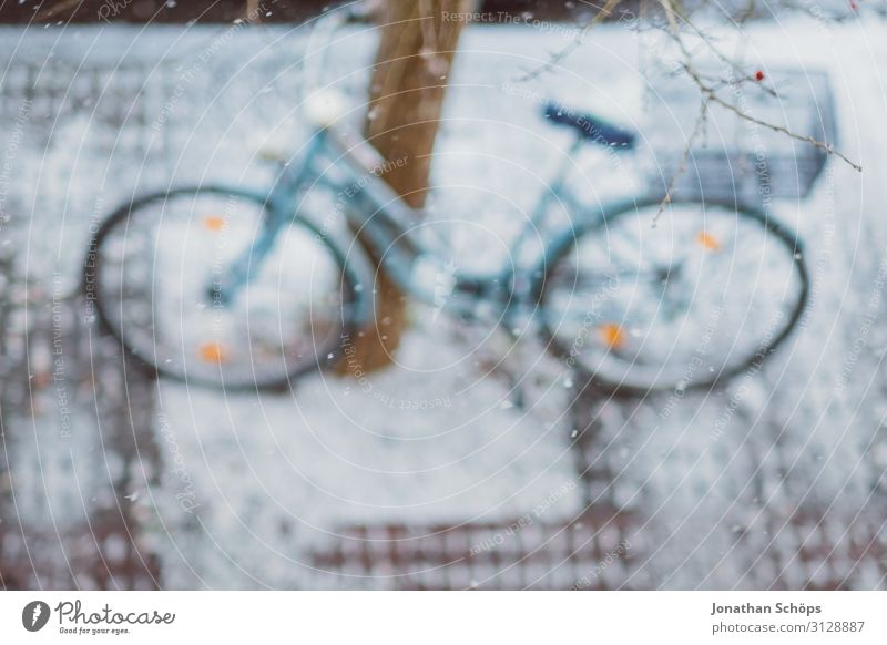 Fahrrad auf einem Baum stehend im Winter Vogelperspektive alt Weihnachten & Advent weiß Landschaft Hintergrundbild Umwelt Schnee Deutschland Schneefall retro