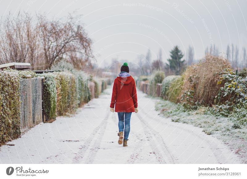 Weitwinkel Winterlandschaft mit Frau im roten Mantel Mensch Junge Frau Einsamkeit 18-30 Jahre Straße kalt Wege & Pfade Schnee Garten Freiheit Schneefall einzeln