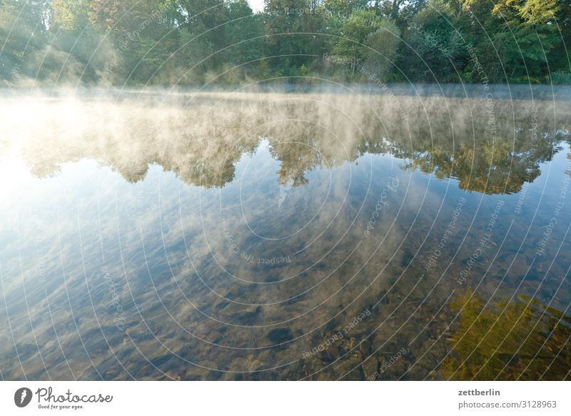 Berlin, Hohenzollernkanal Nebel Dunst Fluss Morgen Kanal Schifffahrt Sonnenaufgang Güterverkehr & Logistik Küste Seeufer Flussufer Wasser Wasseroberfläche ruhig