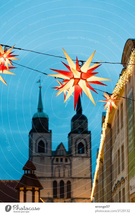Magdeburger Weihnachtsmarkt Deutschland Europa Hauptstadt Stadtzentrum Altstadt Menschenleer Kirche Marktplatz Sehenswürdigkeit leuchten historisch blau rot