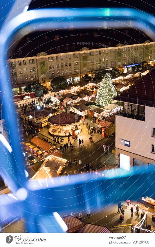 Magdeburger Weihnachtsmarkt II Weihnachten & Advent blau Stadt schwarz Gebäude Deutschland braun Europa Platz hoch Hauptstadt Altstadt Stadtzentrum