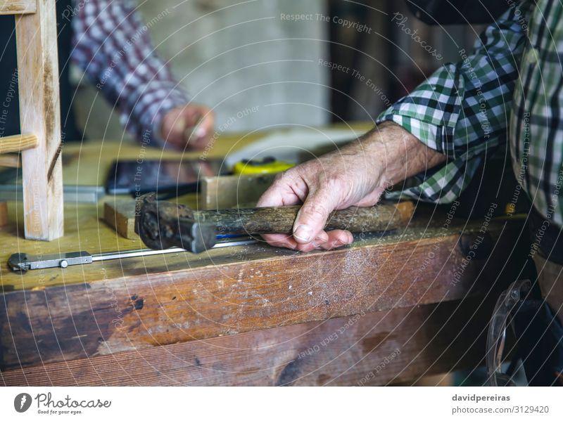 Zimmermannshand hält einen Hammer. Freizeit & Hobby Arbeit & Erwerbstätigkeit Beruf Business Mensch Frau Erwachsene Mann Paar Hand machen Hobelbank Zimmerer