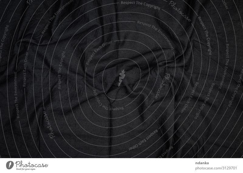 Fragment aus schwarzem Baumwollstoff mit Wellenmuster Design Dekoration & Verzierung Mode Stoff dunkel Sauberkeit weich grau Farbe Kurve Weben Leinwand