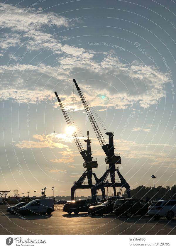 Sonnenuntergang im Rostocker Hafen bei den Docks mit Kränen Tourismus Ausflug Sightseeing Städtereise Sommer Beruf Baustelle Güterverkehr & Logistik Industrie