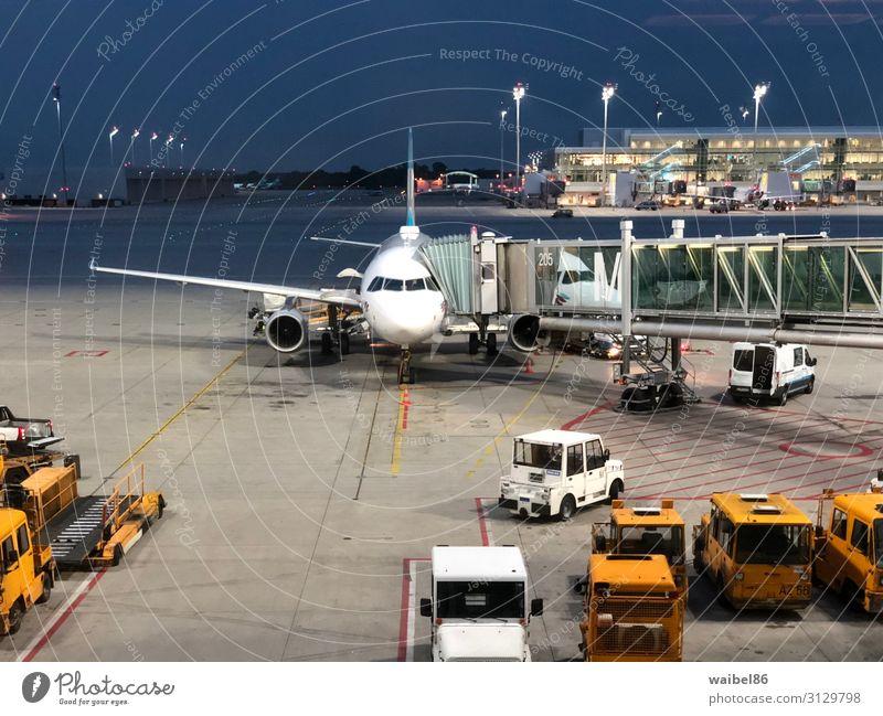 Flugzeug wird am Flughafen für den Abflug vorbereitet Ferien & Urlaub & Reisen Tourismus Ferne Freiheit Sommer Sommerurlaub Pilot Luftverkehr Menschenmenge