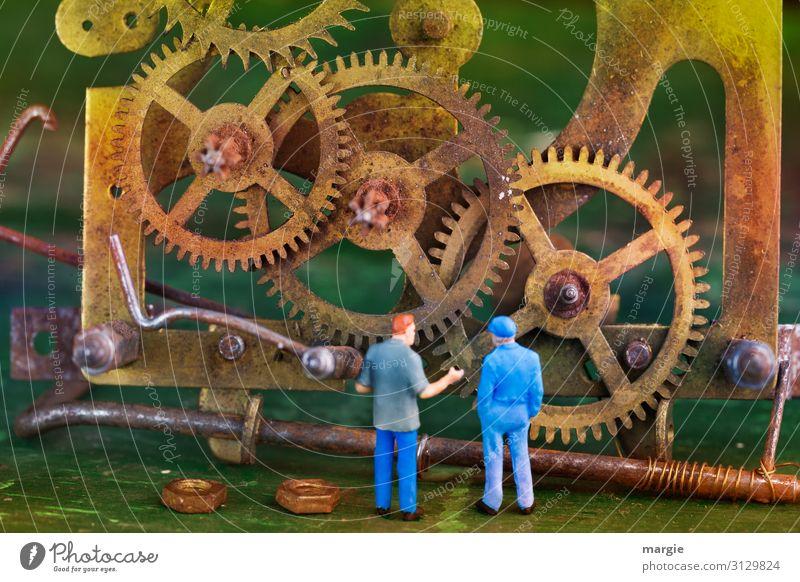 Miniwelten: Zeitmaschine Arbeit & Erwerbstätigkeit Beruf Handwerker Arbeitsplatz Baustelle Dienstleistungsgewerbe Maschine Motor Getriebe Messinstrument Uhr