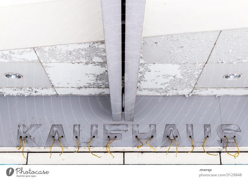 KAUFHAUS alt weiß Wand Mauer Fassade grau Schriftzeichen kaufen kaputt Zukunftsangst Verfall Handel Arbeitsplatz Unternehmen Arbeitslosigkeit Insolvenz