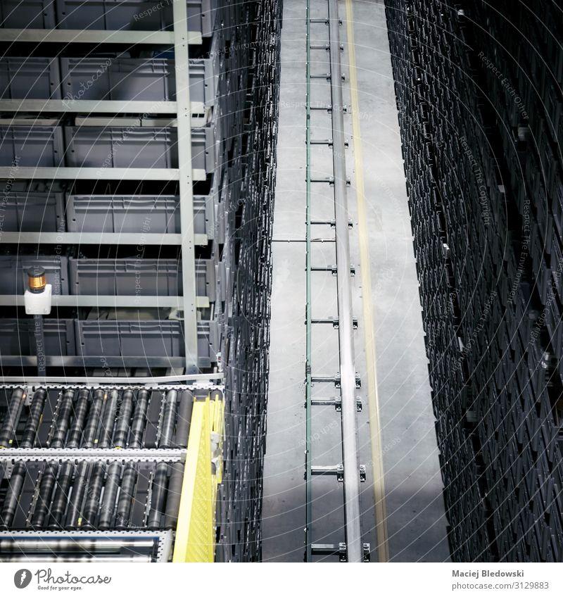 Automatisiertes Lagertransportsystem. Fabrik Industrie Güterverkehr & Logistik Dienstleistungsgewerbe Maschine Technik & Technologie Verkehr Container Linie