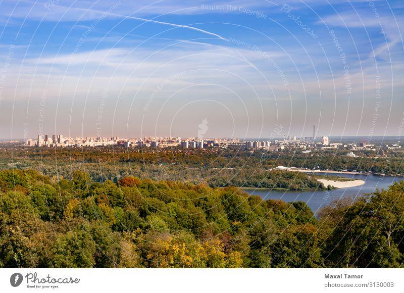 Blick vom Nationalen Botanischen Garten auf das linke Ufer Kiews. Ferien & Urlaub & Reisen Fabrik Industrie Geldinstitut Landschaft Himmel Wolken Horizont Baum