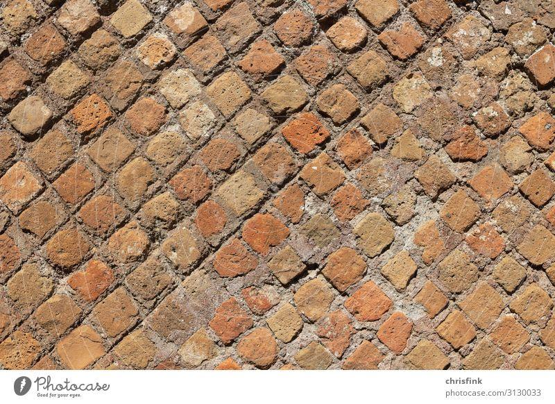 antike römisch Mauer in Ostia Stein Sand Backstein fest rot Rom ostia alt Farbfoto mehrfarbig Außenaufnahme Nahaufnahme Detailaufnahme Tag