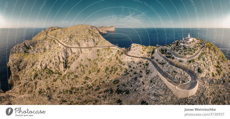 Panorama vom Cap Formentor auf Mallorca Ferien & Urlaub & Reisen Tourismus Ausflug Abenteuer Sightseeing Sommer Sommerurlaub Klima Klimawandel Felsen
