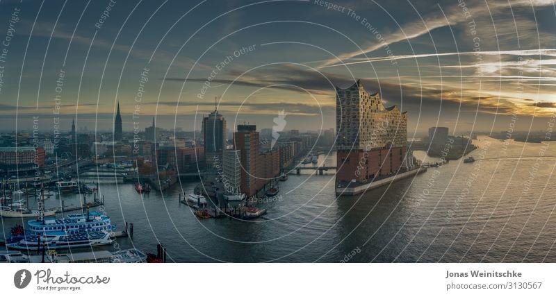 Die Elbphilharmonie bei Sonnenaufgang Architektur Musik Konzert Oper Opernhaus Hamburg Hauptstadt Hafenstadt Stadtzentrum bevölkert Bauwerk Sehenswürdigkeit