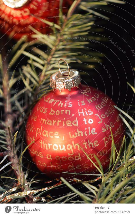 beschriftete Christbaumkugel | Fingerspitzengefühl Dekoration & Verzierung Weihnachten & Advent Schriftzeichen Kugel gold rot Glaube Religion & Glaube Tradition
