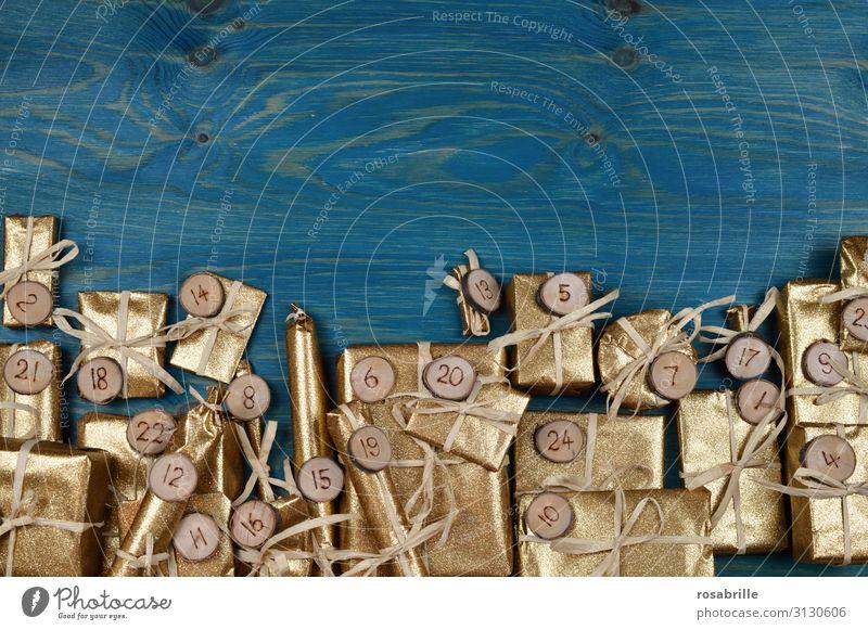 Band edler Adventskalender Freude Basteln Feste & Feiern Weihnachten & Advent Paket Holz Ziffern & Zahlen glänzend gold türkis Vorfreude Überraschung Erwartung