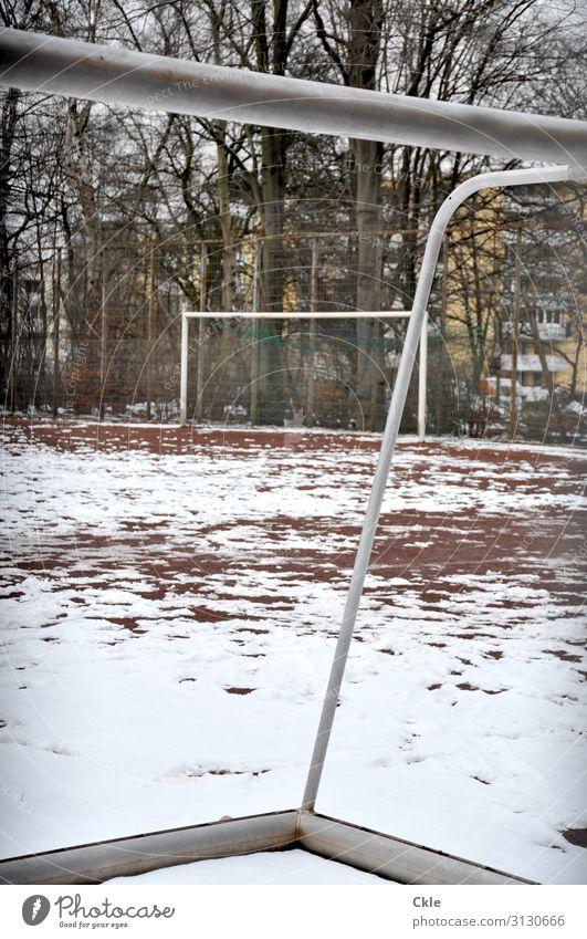 Rahmen Freizeit & Hobby Spielen Winter Sport Fitness Sport-Training Wintersport Ballsport Fußball Sportstätten Fußballplatz Umwelt Schnee Baum Haus Hochhaus