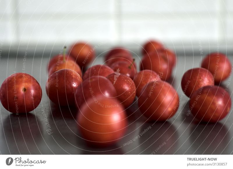 Reife, rote Mirabellen in der Küche Lebensmittel Frucht Ernährung Bioprodukte Vegetarische Ernährung Herbst frisch Gesundheit lecker rund saftig Sauberkeit süß