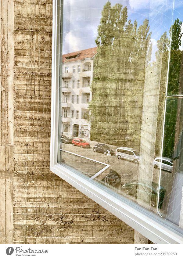 Fenster zur Strasse Haus Architektur Wand Mauer Fassade grau Fensterscheibe Industrieanlage Fassadenverkleidung