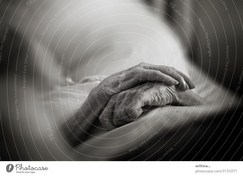 Hände eines alten Menschen auf dem Bett, zum Sterben bereit. Tod Senior schlafen sterben Krankheit ruhen Krankenpflege Seniorenpflege Gesundheitswesen Hospiz