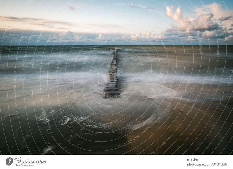 Sandstrand,Buhnen Langzeitbelichtung Horizont Wolken Schönes Wetter Ostsee strömen