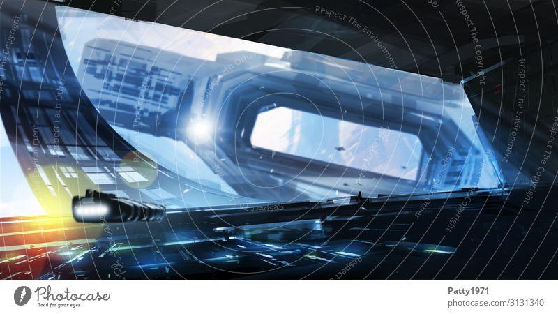 Rotating Space Dock Fortschritt Zukunft High-Tech Luftverkehr Raumfahrt UFO Weltraumstation drehen fliegen Bewegung Mobilität modern Surrealismus