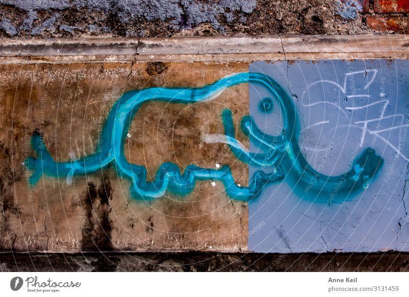 Strassenelefant Kunst Maler Mauer Wand Fassade trendy blau braun türkis Farbfoto Außenaufnahme Experiment abstrakt Menschenleer Tag Zentralperspektive