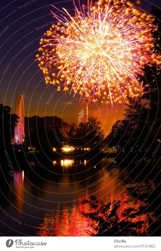 Feuerwerk an der Donau Nachtleben Feste & Feiern Silvester u. Neujahr Jahrmarkt Natur Landschaft Nachthimmel Sommer Fluss glänzend leuchten mehrfarbig rot