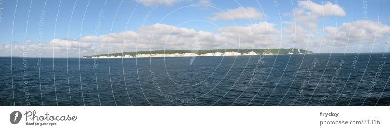 Rügen II Weitwinkel Panorama (Aussicht) Königsstuhl Wolken Horizont Wasser Kreidefelsen Himmel Ostsee groß Panorama (Bildformat)